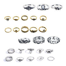 10pcs Antique Gold Plated Midi Ring Knuckle Rings Double Finger Rings Stacking