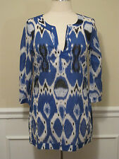 NEW WOMENS BLUE Black White Tunic Top Blouse 3/4 Length Sleeves Size 4 6 NWOT