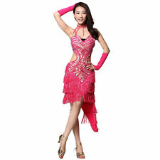 Latin Dance Floral Dress Ballroom Tassels Skirt Standard Prom Costume