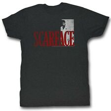 Scarface T-Shirt Red Letters Charcoal T-Shirt