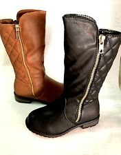 NEW Kids Girls Quilted Faux Leather Gold Zipper Riding Tall Boots Tan Black 9-3