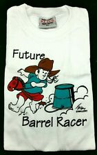 NEW T-Shirt FUTURE BARREL RACER Western Youth Tee Cowgirl Rodeo Girl Stick Horse