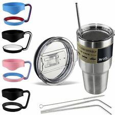 Fashion Handle for 30 oz 20 oz Yeti Rtic Cup Lid - Stainless Drinking Straws WS