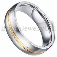6MM Mens Stainless Steel Ring Silver Gold  Tone Wedding Promise Band Size 5-13