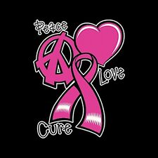 Peace Love Cure Breast Cancer Awareness Women's T-Shirt All Sizes/Colors (943)