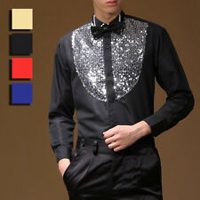 Men Show Dancewear Sequined Shirt Salsa Latin Ballroom Dance Costume No Bowtie
