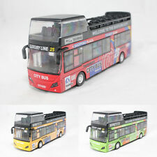 1:32 Die-Cast Bus Double Decker Sightseeing Tour Yellow Green Model Sound Light