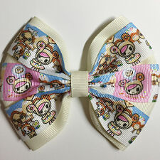 Cartoon Donutella theme printed grosgrain ribbon hair bow
