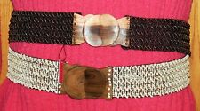 """2 1/2"""" WIDE ELASTIC STRETCH BELT BRONZE CREAM ROSEWOOD BUCKLE ONE SIZE FITS MOST"""