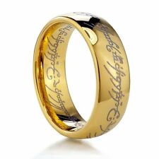 8MM Lord Of The Rings Style Tungsten Carbide Gold Plated Ring Wedding Band