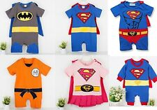 Superman Goku Batman Supergirl Costume Baby Party Romper Outfit Fancy Dress