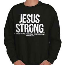 New Christian Jesus Strong Religious Cross Faith Mens t-Shirt Sweatshirt