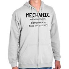Mechanic Someone Who Fixes Sh**t You Cant Mens Funny Humor Zipper Hoodie