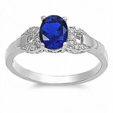 Wedding Engagement Ring 925 Sterling Silver 1.40Ct Deep Blue Sapphire Russian CZ
