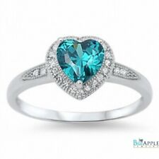 Halo Heart Promise Ring 925 Sterling Silver 1.20Ct Swiss Blue Topaz Russian CZ