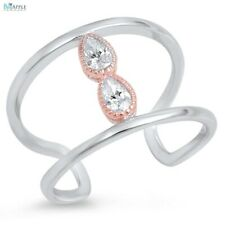 Trendy 2 Row Fashion Ring Solid 925 Sterling Silver Rose Gold Crystal Russian CZ
