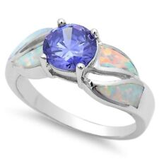 Solitaire Shank Wedding Ring 925 Sterling Silver 1.10CT Opal Synthetic Tanzanite