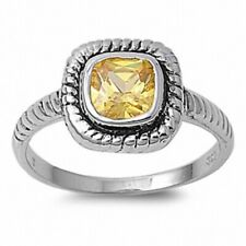 Cable Shank Wedding Engagement Ring 925 Sterling Silver 0.71Ct Canary Yellow CZ