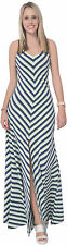 WOMENS CELEB STRIPED LONG MAXI DRESS HALTER BOHO SUMMER BEACH HOLIDAY DRESS A840