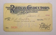Jan. 1,1911 Order of Railway Conductors Railroad Membership Card Lot N16-97