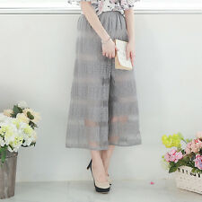 YOCO Womens Wide Leg Pants In Lace Sheer Stripe Japanese/Korean Fashion