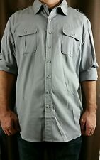 Apt. 9 Modern-Fit Solid Roll-Tab Casual Button-Down Shirt Men Gray Sz.XL New