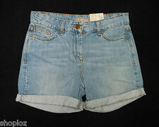 M&S Woman Size 6 Bleached Denim Shorts Roll Up Hems Bnwt Free Postage