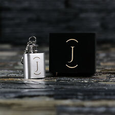Personalized 1oz Mini Hip Flask Monogram Keychain Gift for Men, Whiskey Lovers