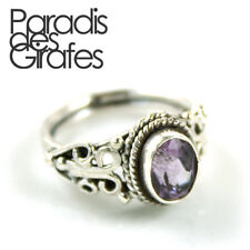 Ethnic Solid 925 Sterling Silver Faceted Amethyst Filigreed Ring Size 5 6 7