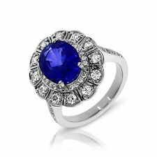Engagement Rings Size 7.5 14K White Gold Oval Blue Sapphire Diffusion Jewelry