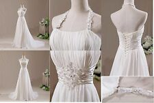 Summer Beach Chiffon Halter Ivory/White Wedding Dress Long Bridal Gown Plus Size
