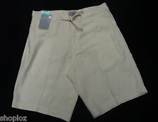 "Mens M&S Waist Size 34"" Linen Blend Shorts 11L Bnwt Stone Free Postage"