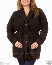 New Black Single Breasted 3 Button Peacoat w Tie Belt Pea Coat Jacket 1X 2X