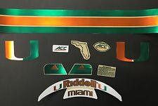 Miami Hurricanes CHROME Football Helmet Decal Set NCAA AUTHENTIC ACC