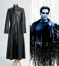 Matrix Neo Long Black Leather Coat Costume Cosplay Halloween Party