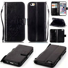 Black Wallet Flip PU Leather Case Cover Case W/Stand Card Slot For Cell Phones