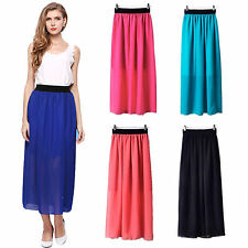 Vintage Double Layer Retro Pleated Chiffon Long Maxi Dress Elastic Waist Skirt