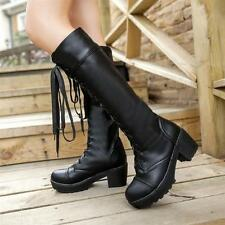 Fashion Gothic Women Punk Lace-Up Chunky Heels Platform Knee-High Riding Boot