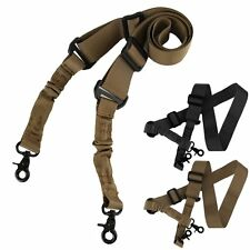 Tactical 2 Two Dual Point Adjustable Bungee Hook Rifle Gun Sling System Strap