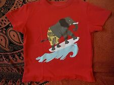 Boden Boy red t-shirt with surfing elephant applique 5-6 years - cool and comfy