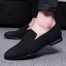 Mens suede slip on loafer driving shoes formal pointy toe shoes