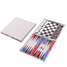 Magnetic Table Top Checkers, Chess & Backgammon Game Set