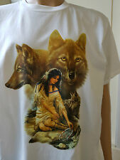 Wolf Inner Vision Indian Girl Native American Tribal Western Biker T-Shirt