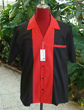 Men's Rockabilly Vintage 1950's Style  Retro Bowling Shirt  Black & Red