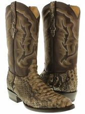 mens brown real python snake skin genuine leather cowboy boots rodeo western