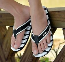 Summer Mens thongs stripe sport beach sandals flip flops flat casual slipper
