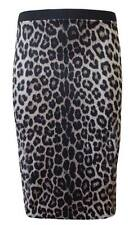 WOMENS LADIES BODYCON ANIMAL LEOPARD WET LOOK PRINT PENCIL MIDI SKIRT SIZE 8-14