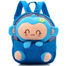 Kids Children Toddler Canvas Cartoon 3D Animal Monkey Book School Bag Satchel