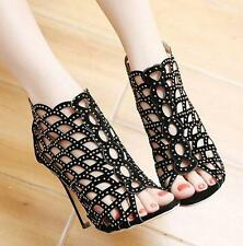 Women's Sexy stiletto Heels Rhinestone Hollow Sandals Pumps Party Shoes peep toe