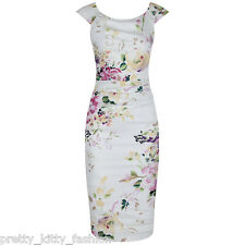 PRETTY KITTY 40s CREAM FLORAL WIGGLE PENCIL COTTON VINTAGE COCKTAIL DRESS 8-18